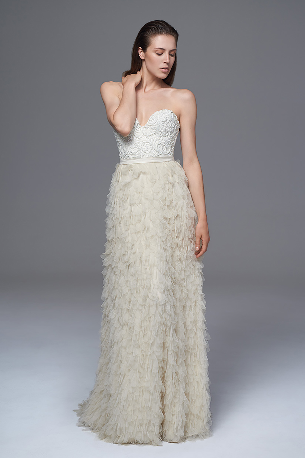 THE FRENCH HAND BEADED LACE DITA BUSTIER WITH THE SWAN SILK TULLE PETAL SKIRT. BRIDAL WEDDING DRESS BY HALFPENNY LONDON