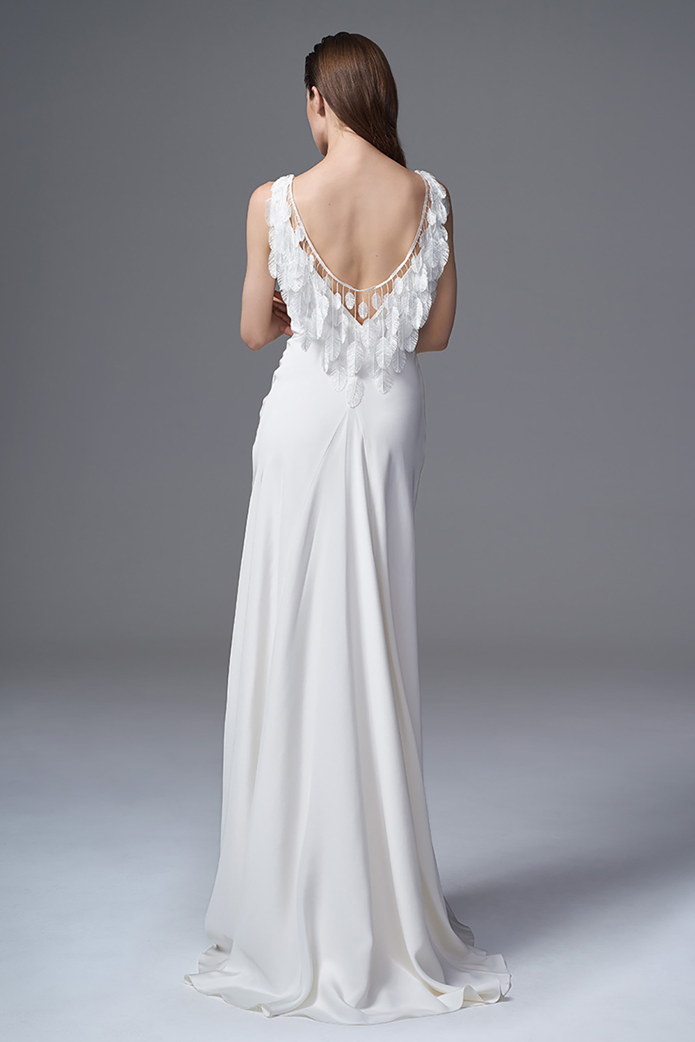 THE VERA SILK CREPE DRESS WITH FRENCH EMBROIDERED FEATHERS. BRIDAL WEDDING DRESS BY HALFPENNY LONDON