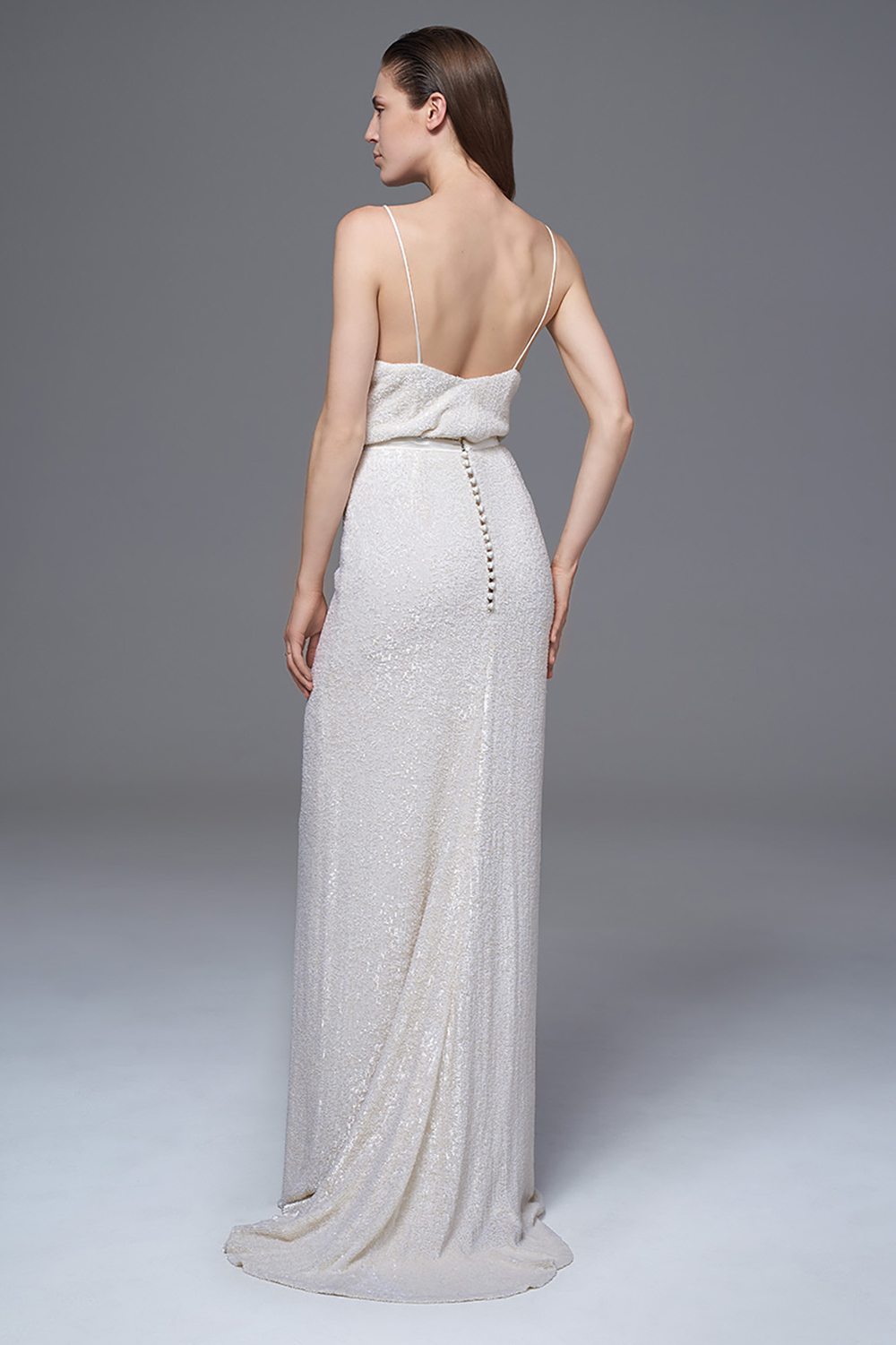 THE CELINE IVORY SEQUINNED CAMISOLE AND SKIRT TWO PIECE BRIDAL WEDDING DRESS BY HALFPENNY LONDON