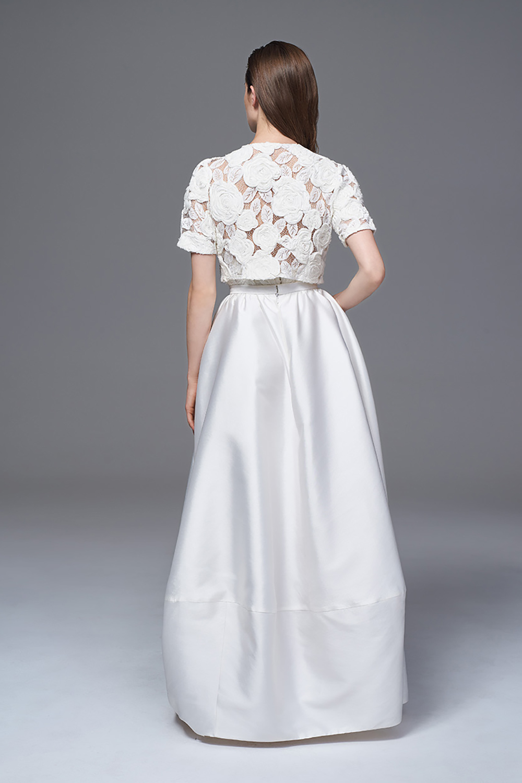 ALEXA BOX PLEATED SKIRT WITH THE ROSA BOLERO JACKET BRIDAL WEDDING DRESS BY HALFPENNY LONDON