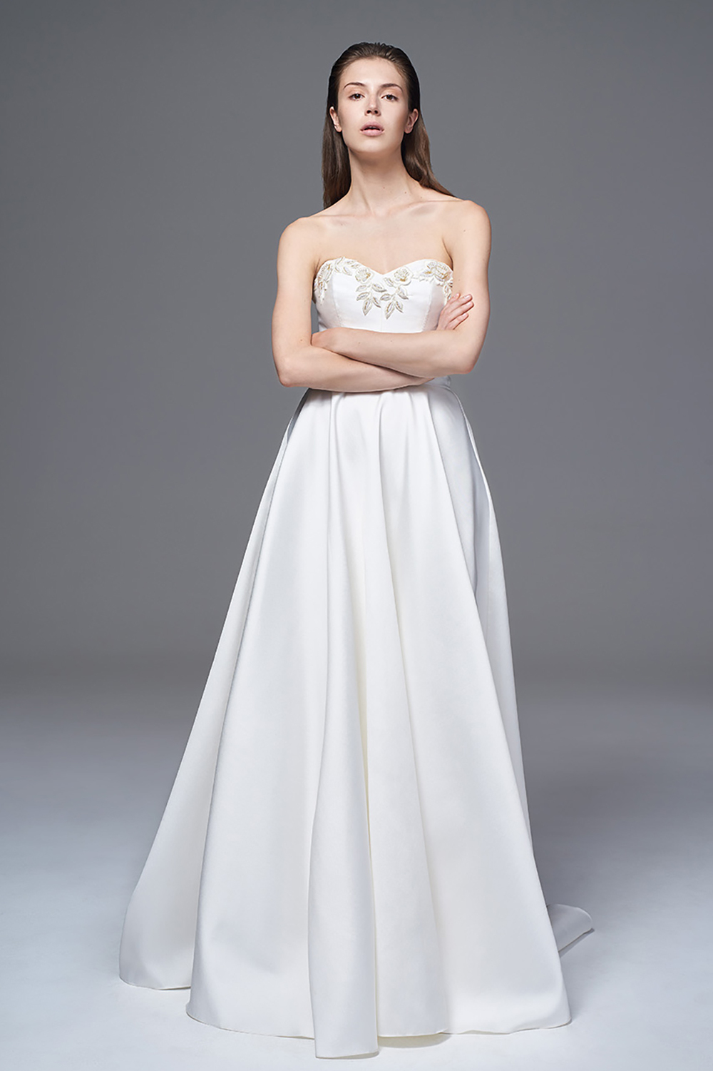 THE ELLIE STRUCTURED MIKADO STRAPLESS DRESS WITH HAND BEADED EMBELLISHMENT. BRIDAL WEDDING DRESS BY HALFPENNY LONDON
