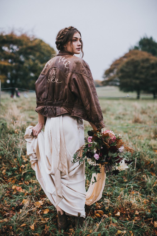 Halfpenny London Cheryl dress worn with a leather jacket