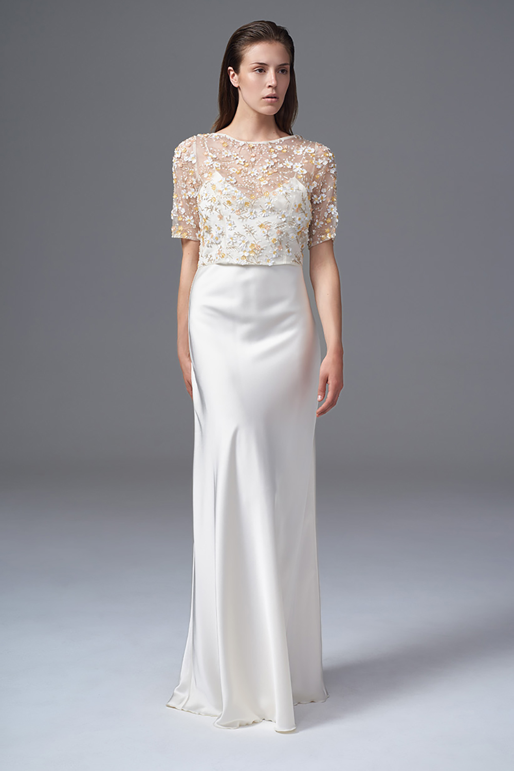 THE RAF FULLY HAND BEADED KEYHOLE BACK JACKET AND CLASSIC IRIS SLIP. BRIDAL WEDDING DRESS BY HALFPENNY LONDON
