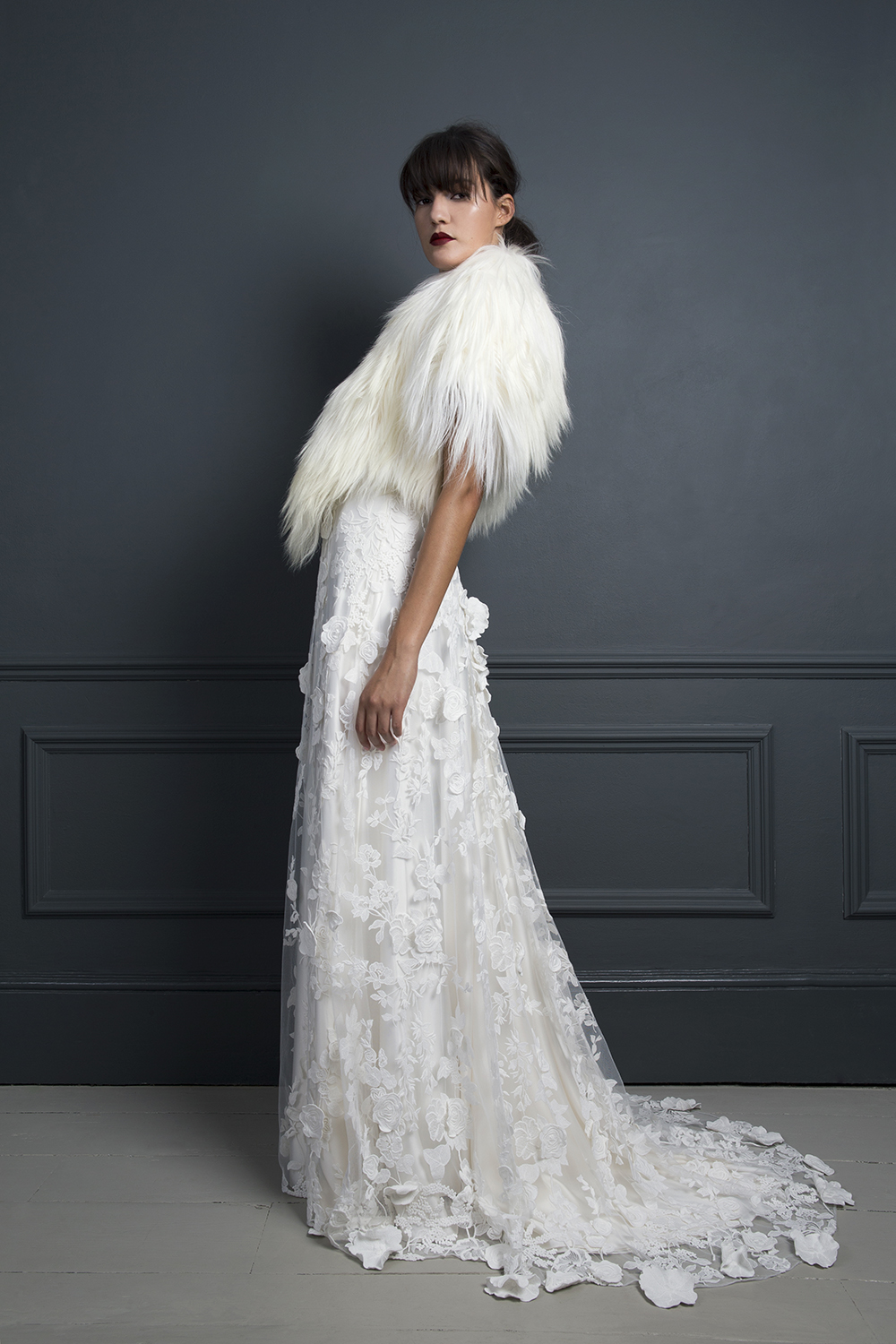 GILLIAN GOAT COAT & EBONY DRESS | WEDDING DRESS BY HALFPENNY LONDON