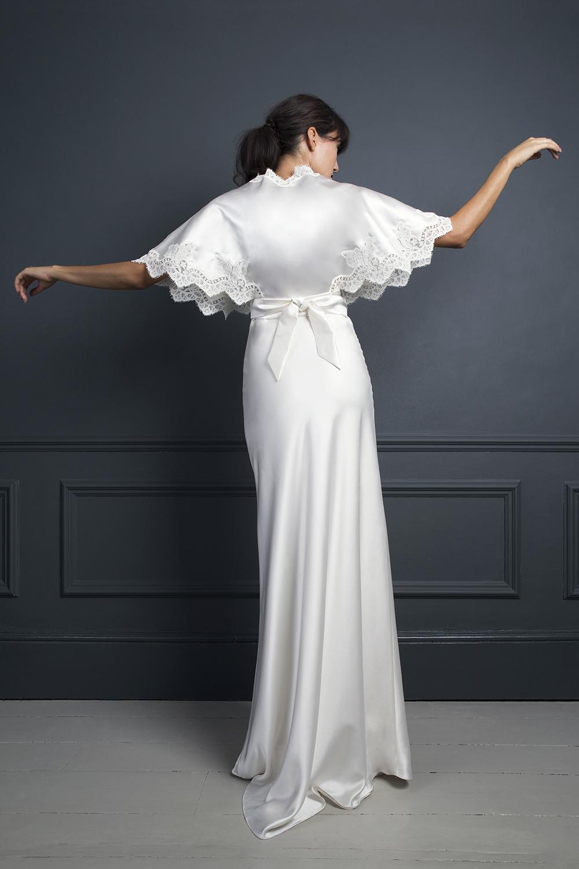 KIKI KIMONO TOP WORN OVER IRIS SLIP | WEDDING DRESS BY HALFPENNY LONDON