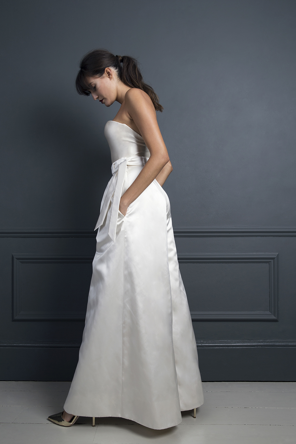 MARLENE TROUSERS & LORETTA SATIN CORSET | WEDDING DRESS BY HALFPENNY LONDON