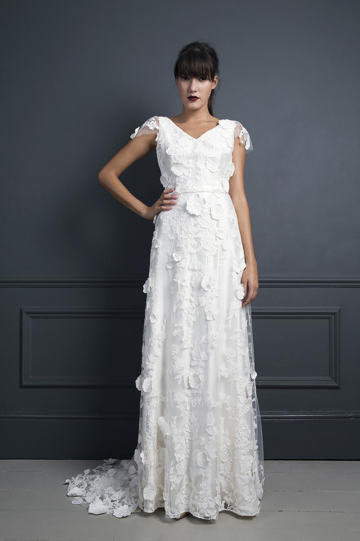 Ebony embellished wedding dress worn with the Gillian Goat Coat | Wedding dress by Halfpenny London