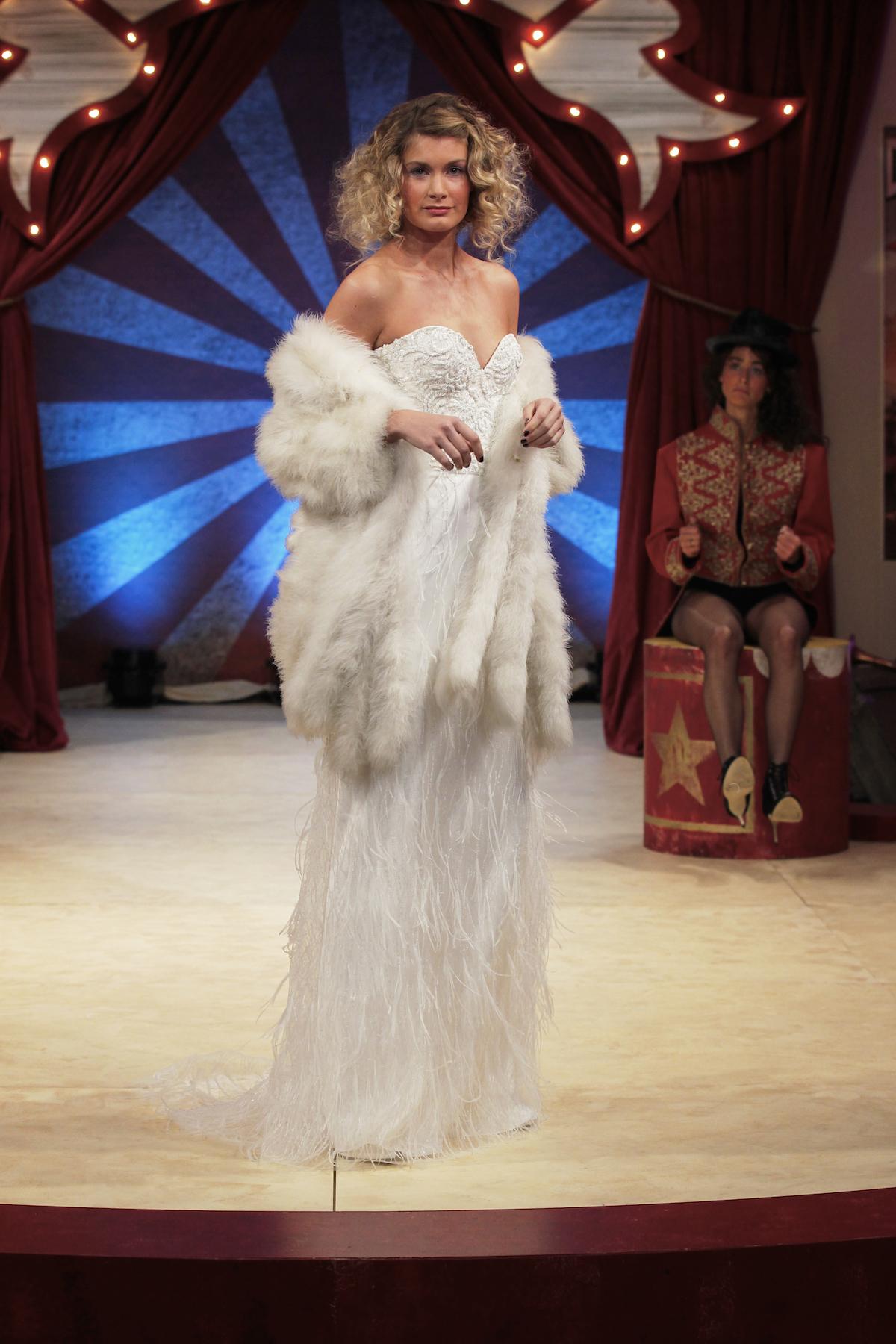 Dita beaded corset & Maribou skirt and jacket   Halfpenny London wedding dress on the Brides the Show catwalk