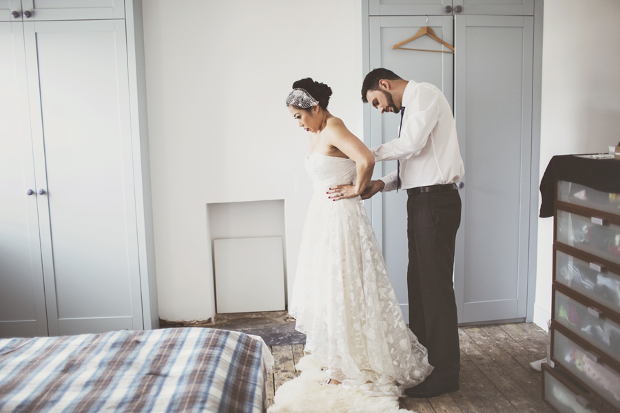 Beautiful bride Fiona wears a custom Hi-Low Esme wedding dress by Halfpenny London