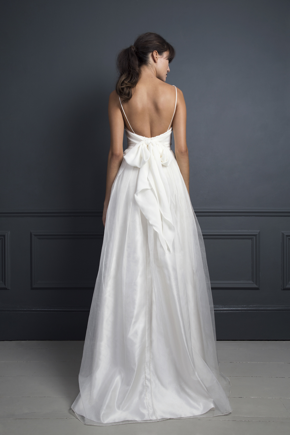 Lola high low skirt with a Dita lace corset with spaghetti straps | Wedding separates by Halfpenny London