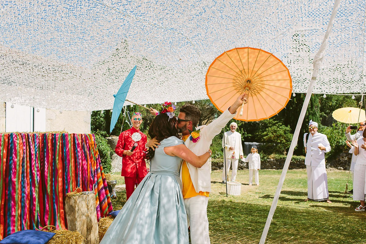 Beautiful bride Jess wore a blue wedding dress by Halfpenny London in a stunning colourful ceremony