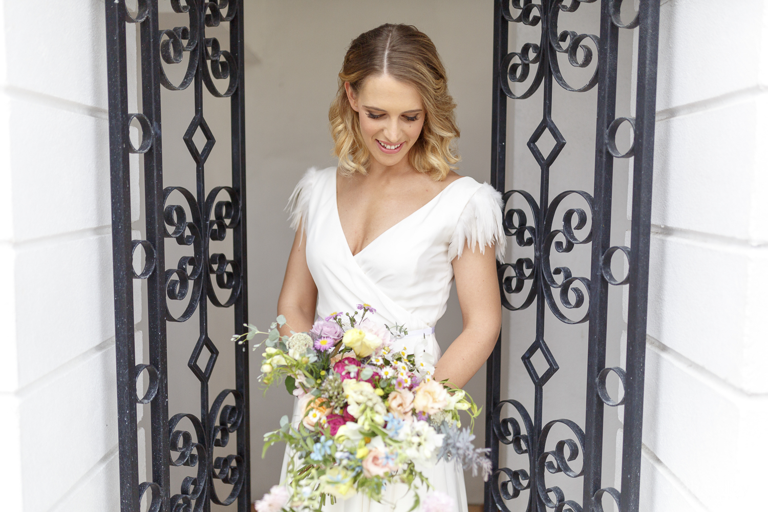 Beautiful bride Katy wears a wedding dress by Halfpenny London
