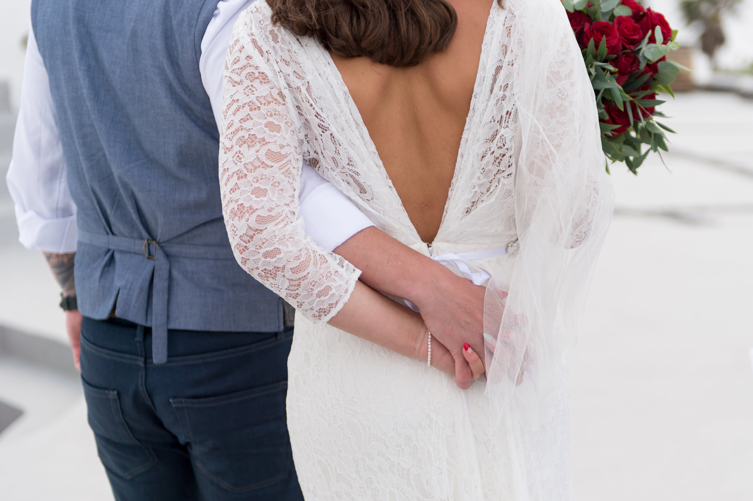 Beautiful bride Stephanie wears a wedding dress by Halfpenny London