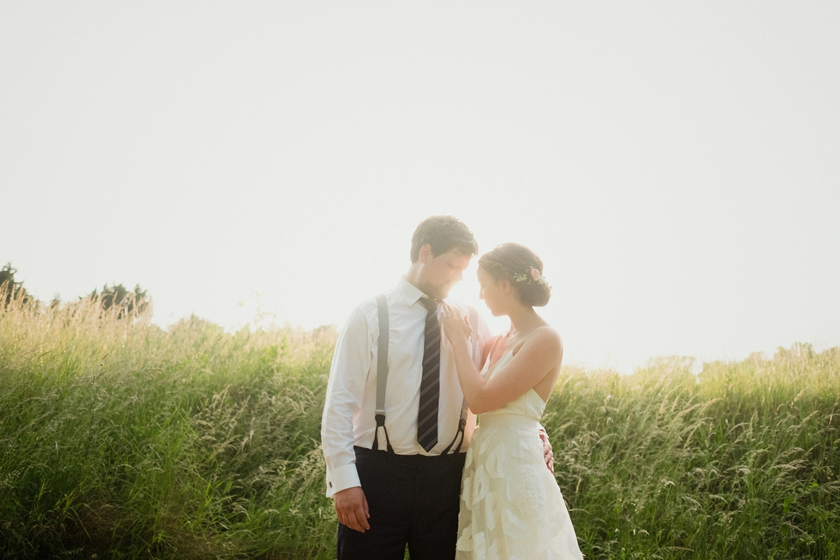 Beautiful bride Ashleigh wore a skirt and top by Halfpenny London on her wedding day
