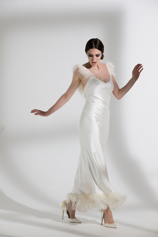 IRIS OSTRICH & FRINGE DRESS   WEDDING DRESS BY HALFPENNY LONDON
