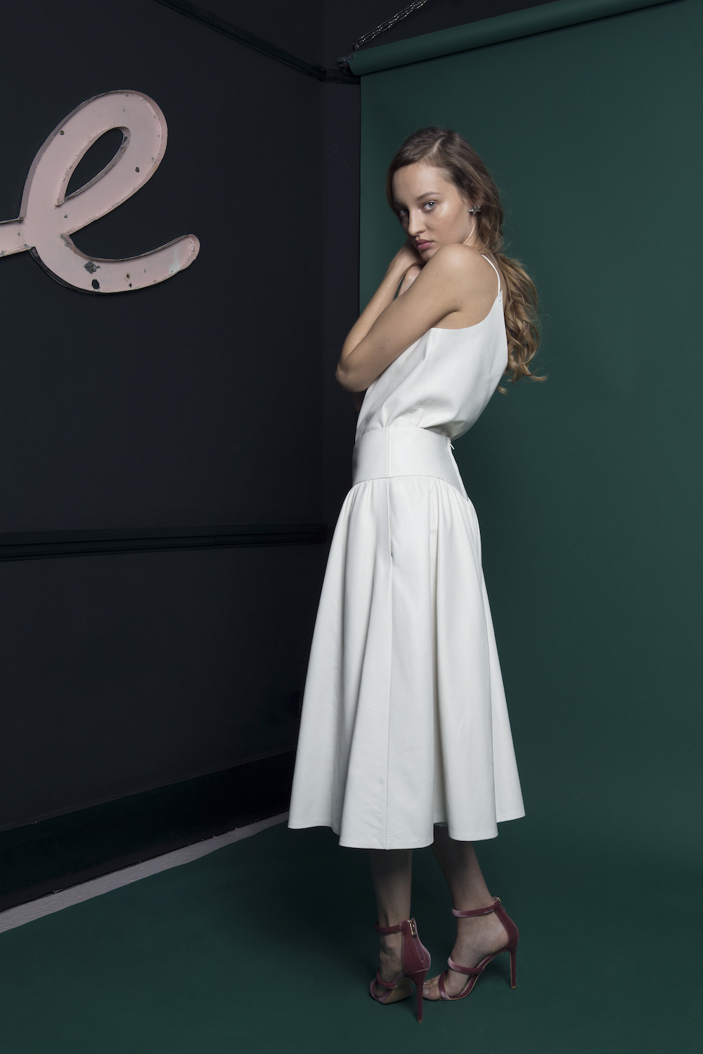LUKA LEATHER CAMISOLE & SKIRT | WEDDING DRESS BY HALFPENNY LONDON