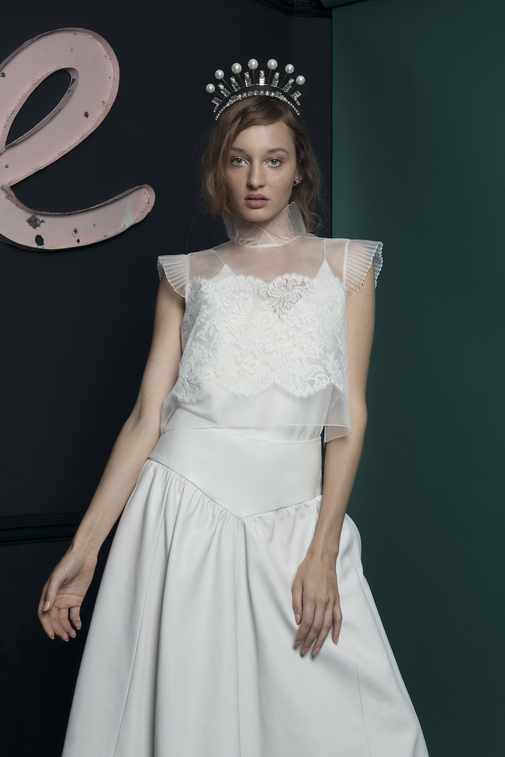 LUKA LEATHER SKIRT WITH WREN TOP | WEDDING DRESS BY HALFPENNY LONDON