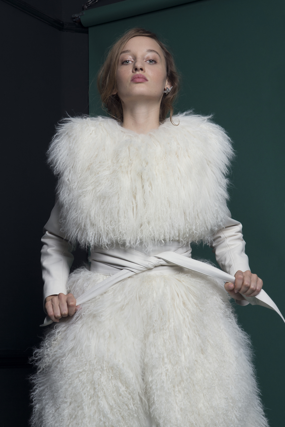 SHADOW MONGOLIAN FUR COAT & BROAD LEATHER BELT | WEDDING DRESS BY HALFPENNY LONDON