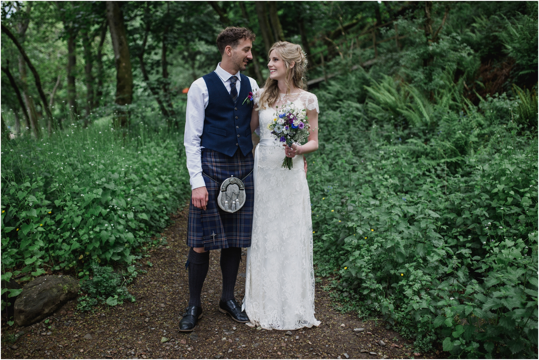 Beautiful bride Fiona wore a lace wedding dress by Halfpenny London