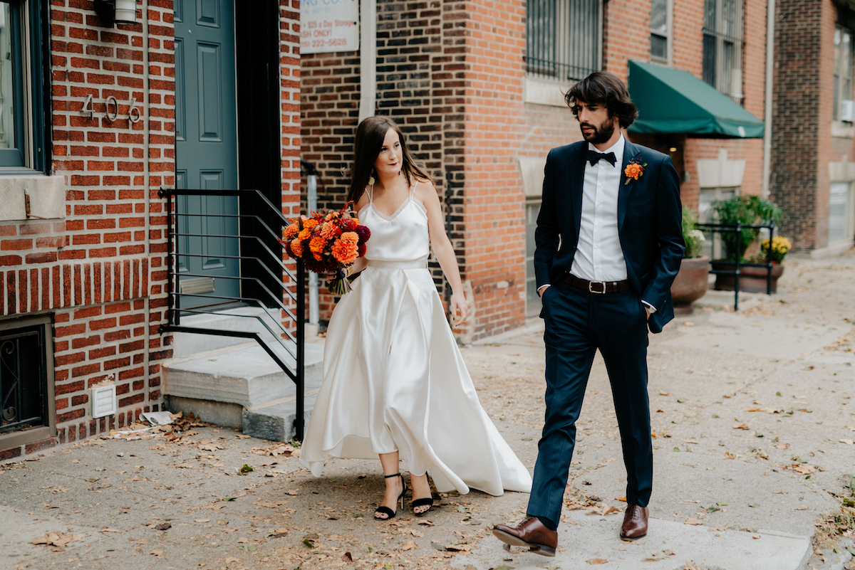 Beautiful bride Sara wore Halfpenny London bridal separates from Net-A-Porter | Wedding dress by Halfpenny London