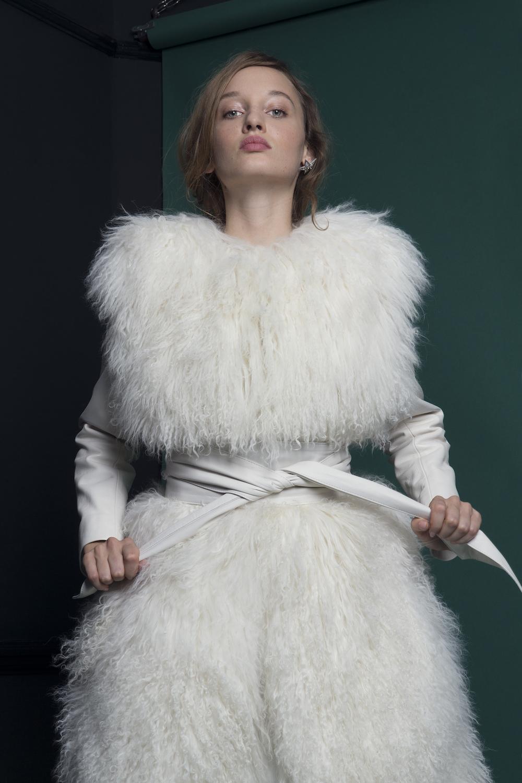 SHADOW MONGOLIAN FUR COAT & BROAD LEATHER BELT | WEDDING DRESS BY HALFPENNY LONDON