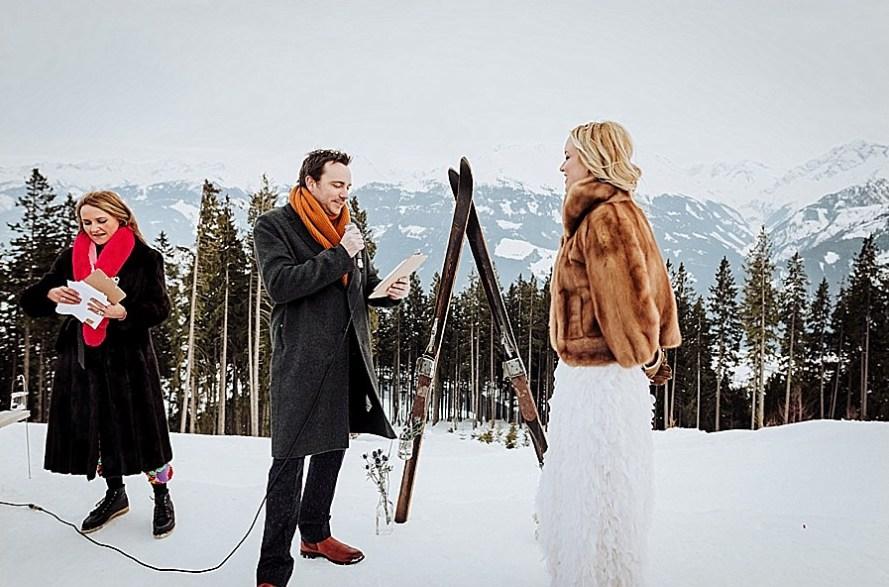 Beautiful bride Katja wore a wedding dress by Halfpenny London for her winter wedding