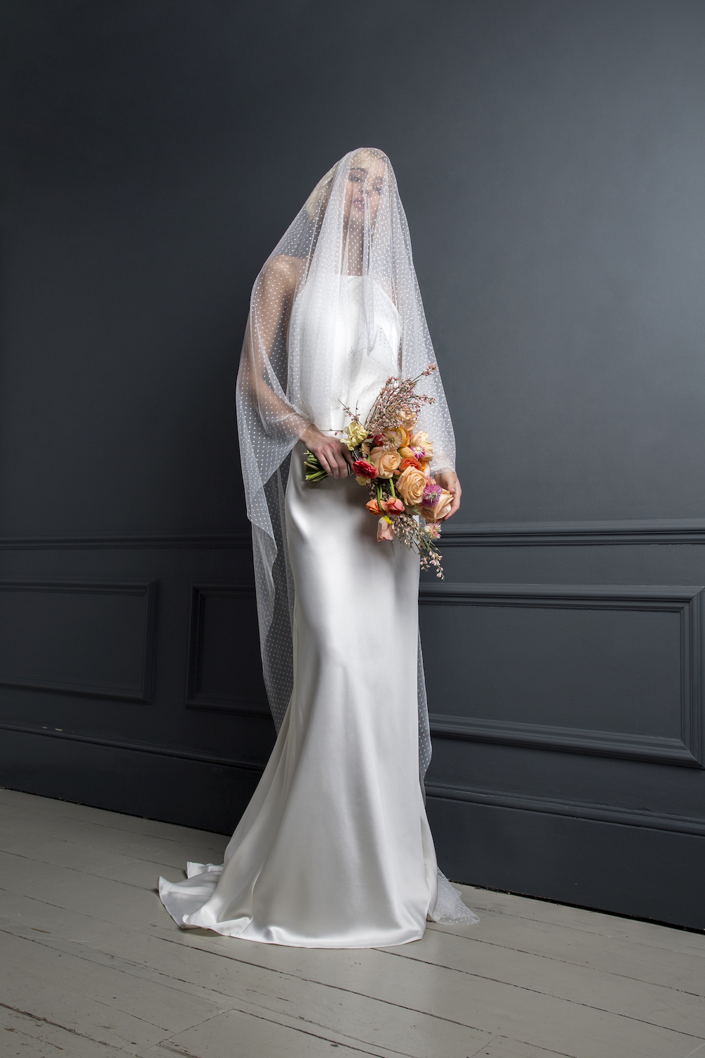 MAX DRESS & SPOTTY TULLE VEIL | WEDDING DRESS BY HALFPENNY LONDON