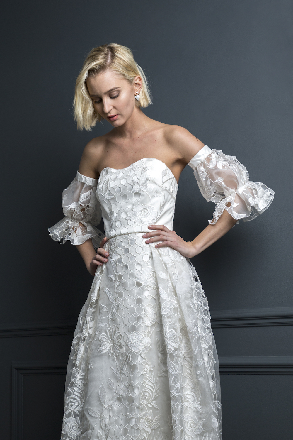 SAMSON CORSET, HUGO SLEEVES & SAMSON SKIRT | WEDDING DRESS BY HALFPENNY LONDON