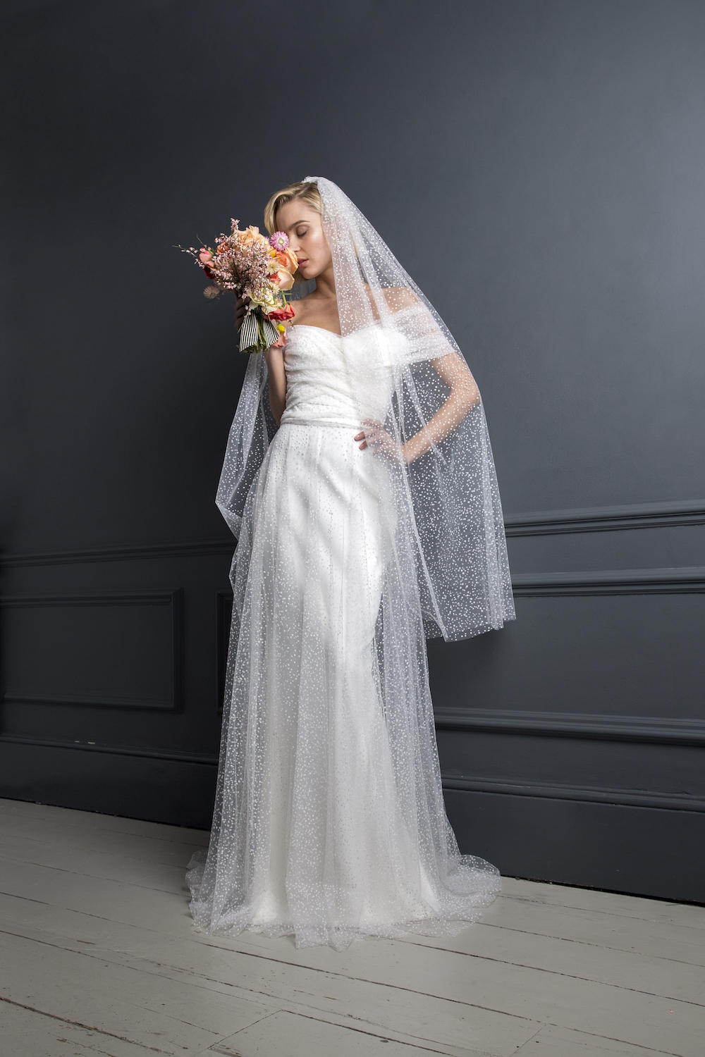 SCOTTY DRESS & FLOCKED SPOT VEIL | WEDDING DRESS BY HALFPENNY LONDON