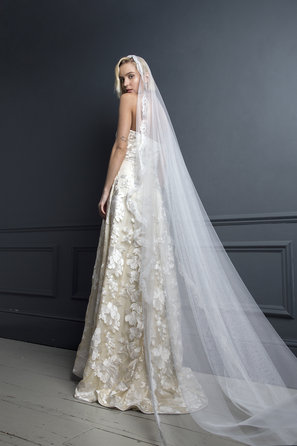 SYLVESTER & LACE BOARDER VEIL | WEDDING DRESS BY HALFPENNY LONDON
