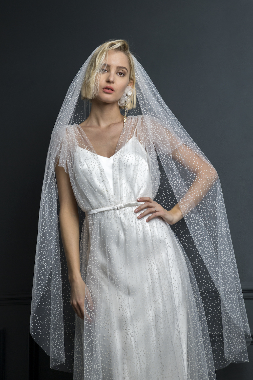 ZIGGY DRESS & FLOCKED SPOT VEIL | WEDDING DRESS BY HALFPENNY LONDON