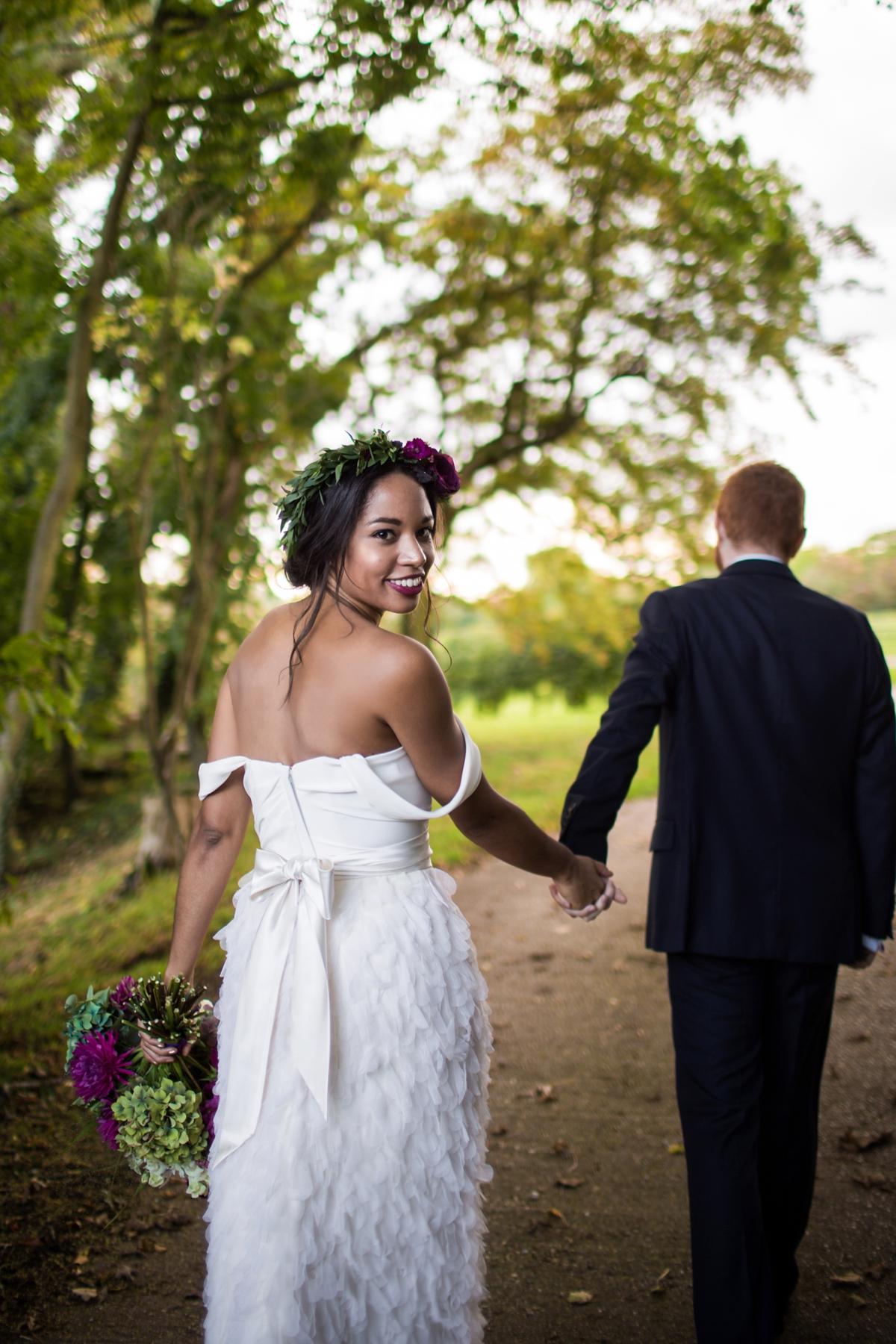 Beautiful bride Leah wore a wedding dress by Halfpenny London