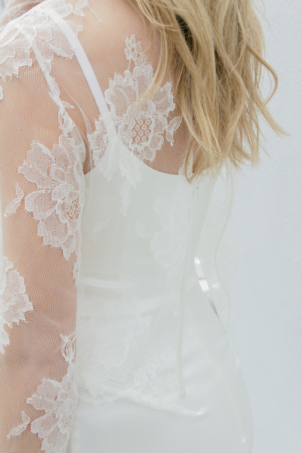 Dion wedding dress and Carlisle lace top by Halfpenny London | Available on Net-A-Porter