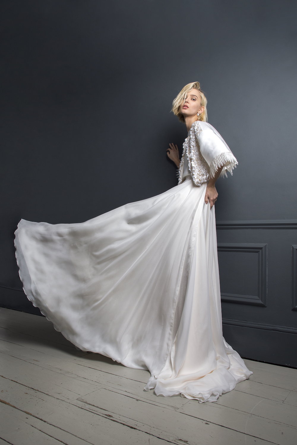 Bradley jacket by Halfpenny London | sequinned wedding bolero with pleated lace sleeves