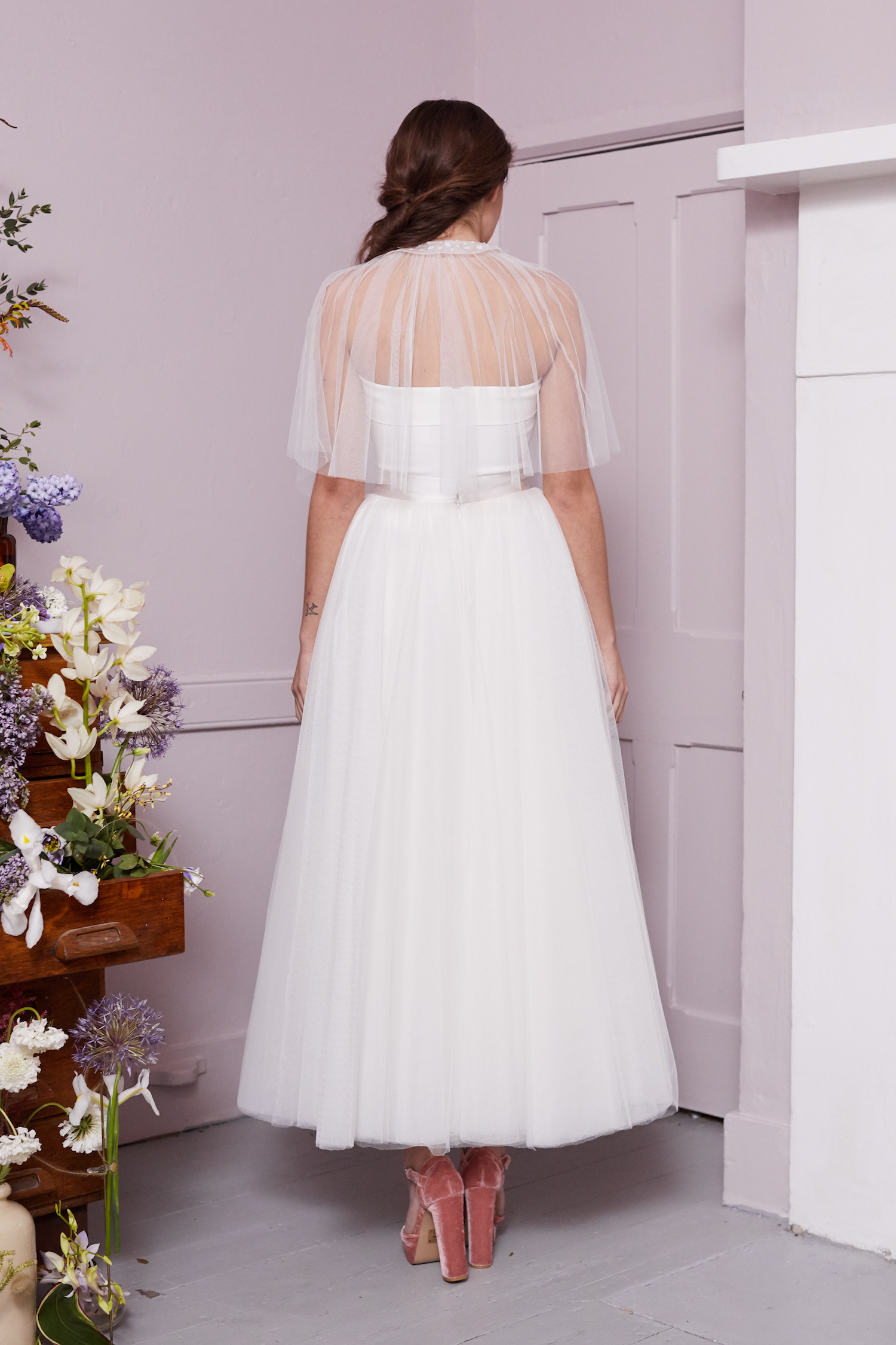 CAMPAGNE CAPE SHORT, RILEY CORSET & HOCKNEY SKIRT | WEDDING DRESS BY HALFPENNY LONDON