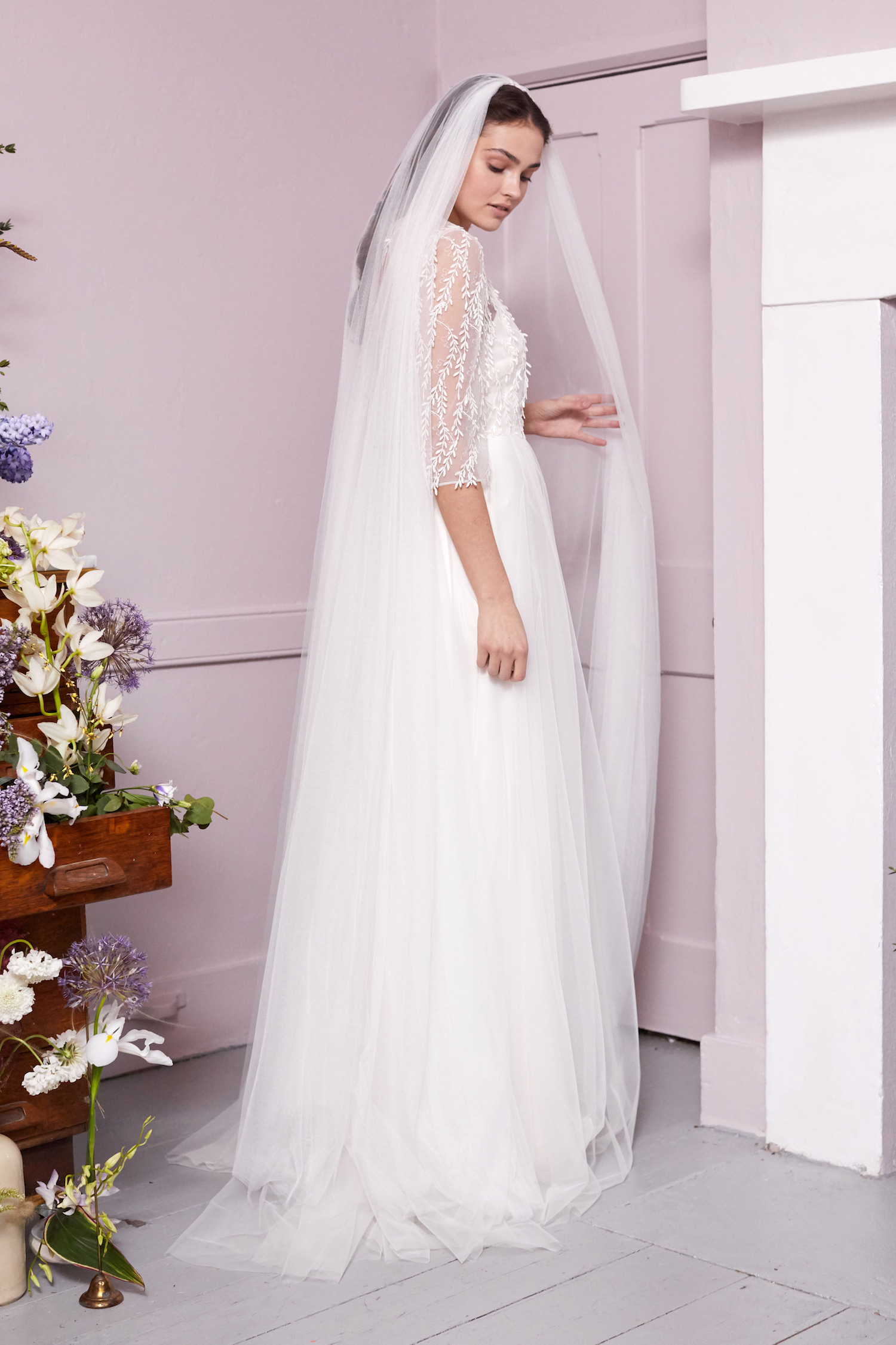 DOUBLE COMB PLAIN VEIL | WEDDING DRESS BY HALFPENNY LONDON