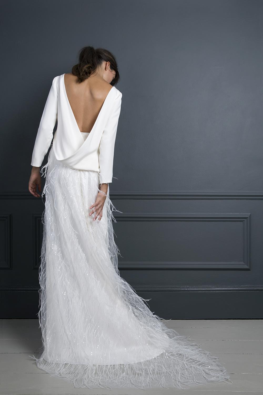 LAURA DRAPE TOP & MARIBOU SKIRT | WEDDING DRESS BY HALFPENNY LONDON