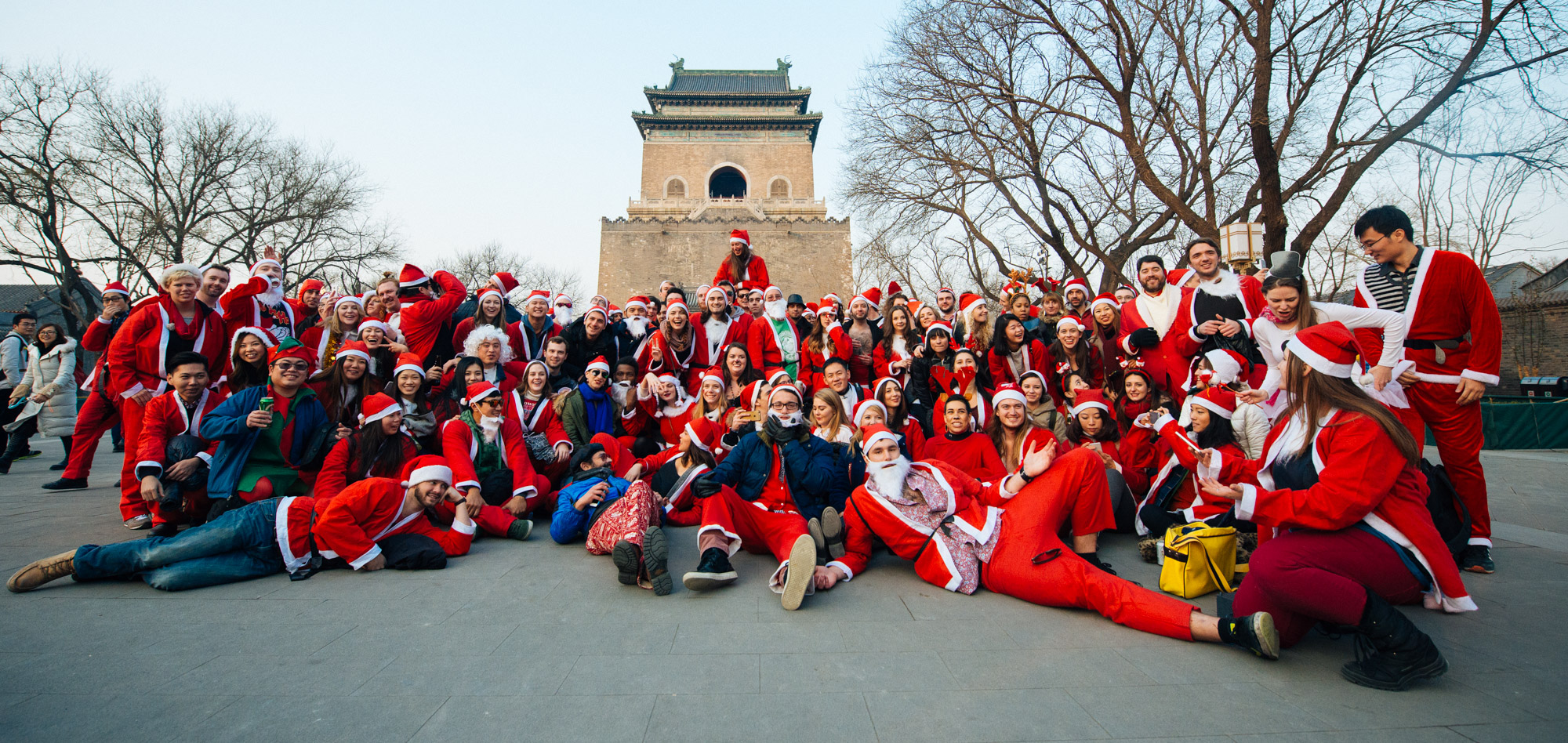 Group photo in front of the Bell Tower (Zhong lou).