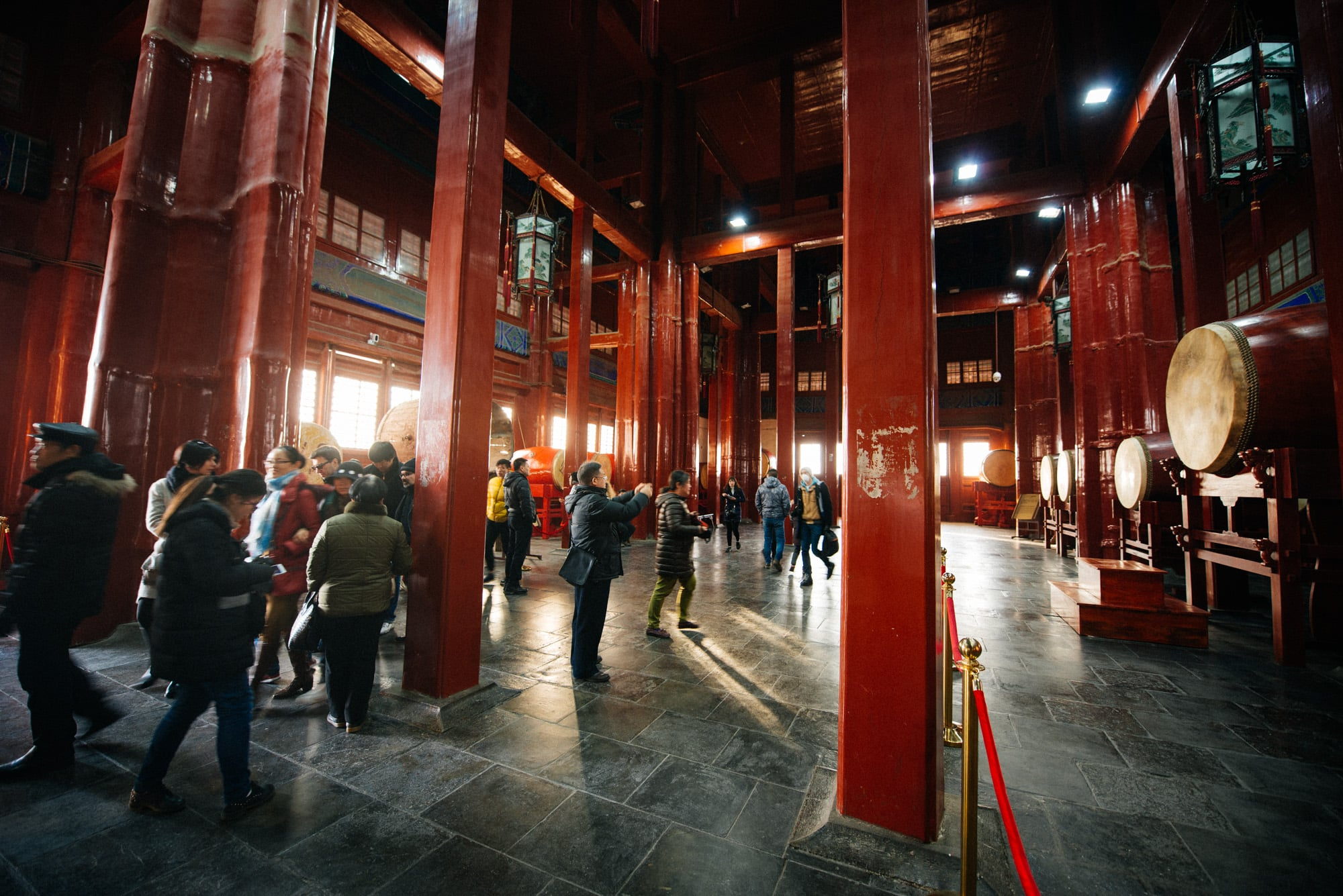 The inside of the Drum Tower. From time to time a group of performers come and show their drumming skills.