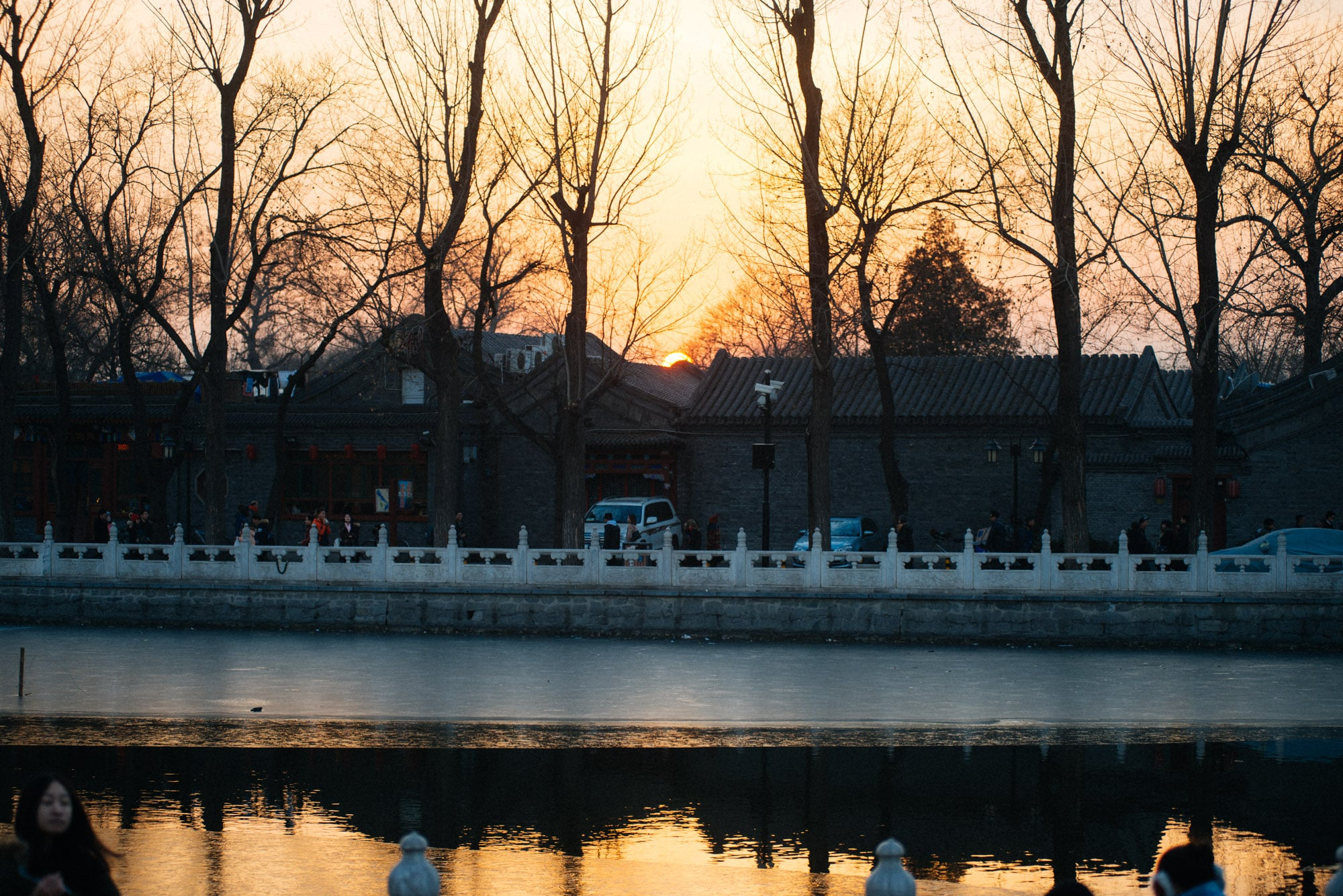 The sun sets at Houhai lake. It got too cold and I came back home.