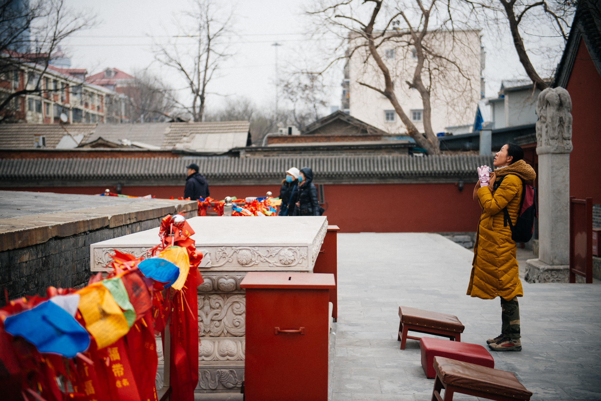 After walking around the pagoda several times, this woman bowed a few times and finished her worship.