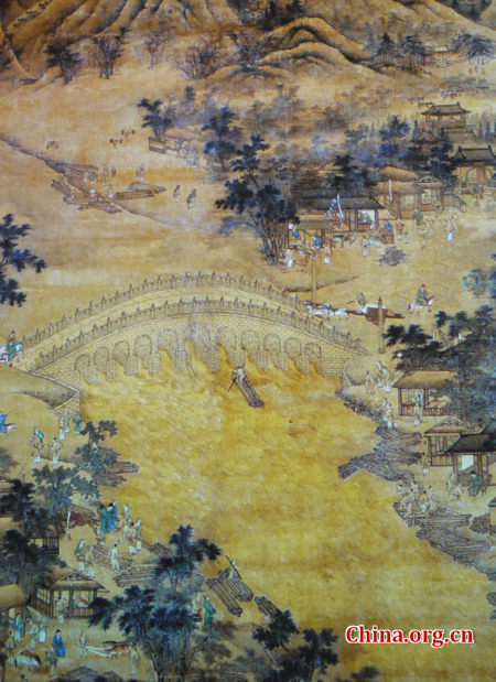 Undated ancient painting of the bridge. You can see that the structure is arched, unlike today's completely flat surface.  China.org.cn