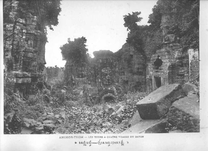 This is the Bayon in 1909 as seen by photographer  Pierre Dieulefis . A lot of reconstruction work has been done since.