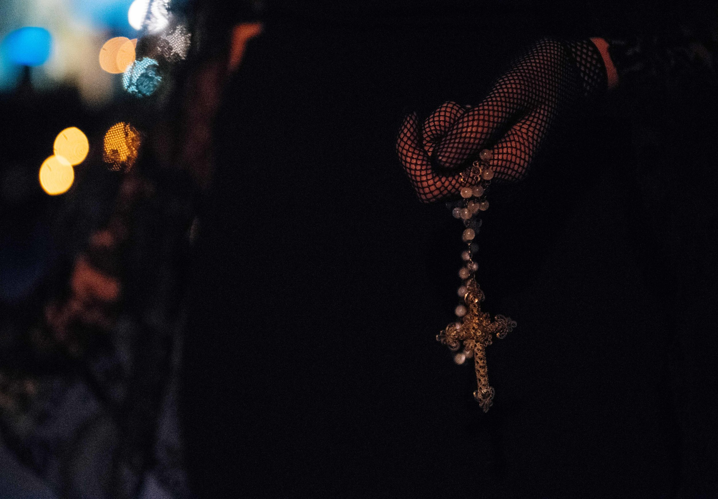 Many of the women in black, which some say represent the widows of Christ, carry rosaries and pray along the way.