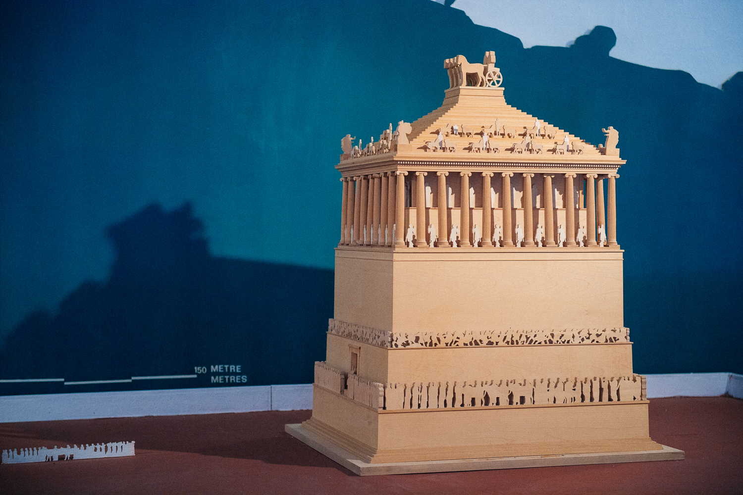 A replica in the museum shows how the Mausoleum was before it was destroyed by earthquakes in 1404. The top had 36 columns and larger than life statues of lions and a carriage with four horses carrying the images of, supposedly, Maussollus and his wife.