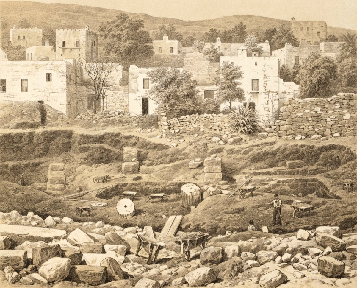 Mausoleum of Halicarnassus: excavation of north side of quadrangle, 1862 by  Thomas Picken