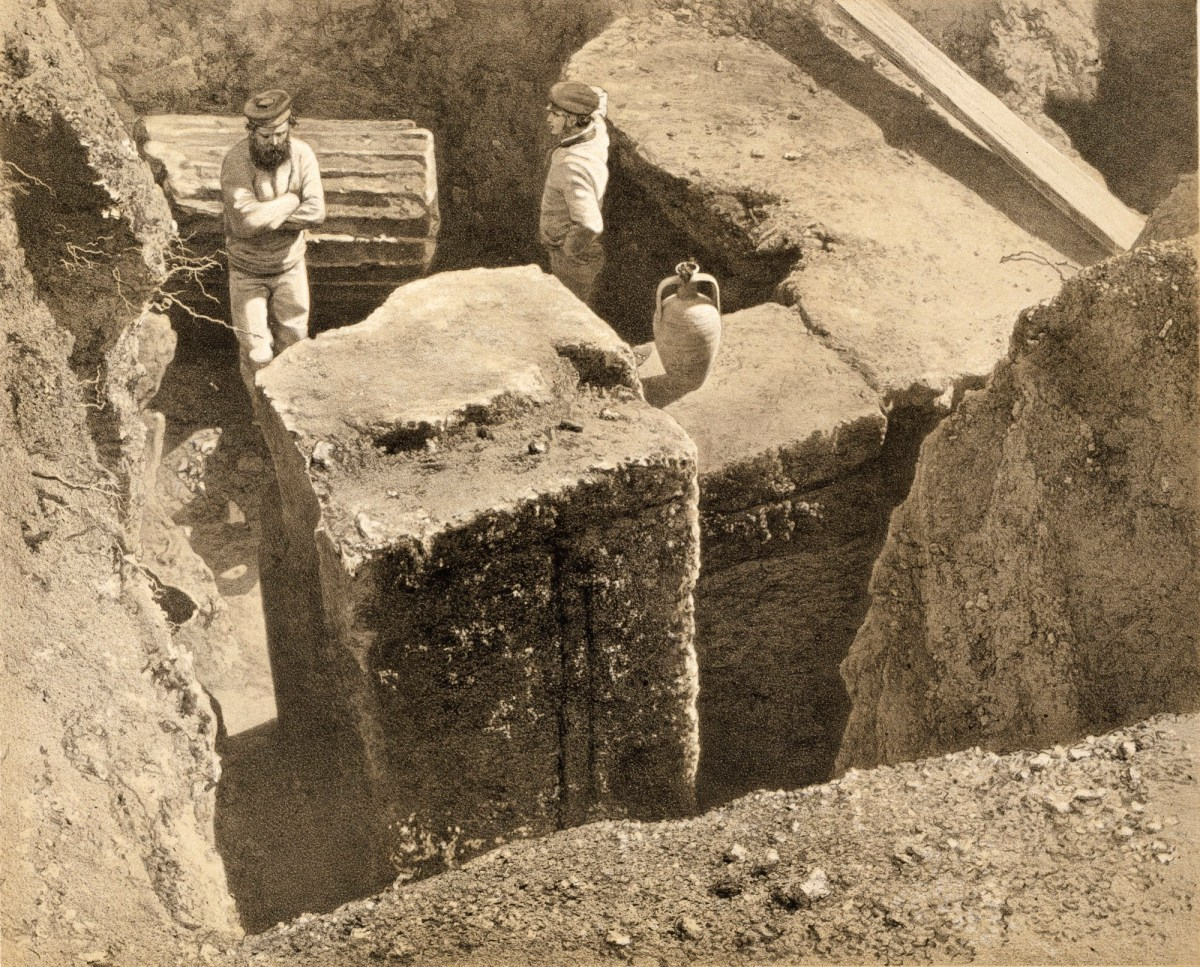 Mausoleum at Halicarnassus: view of excavation on west side of quadrangle, 1862 - Lithograph by E. Wagner
