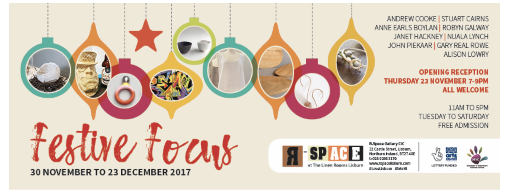 New Gold Berry earrings, along with a large selection of  nua  jewellery,can be found at the beautiful  Festive Focus  at  R-Space Gallery,  Castle Street, Lisburn. A wonderful selection of design-led,hand-crafted gifts.