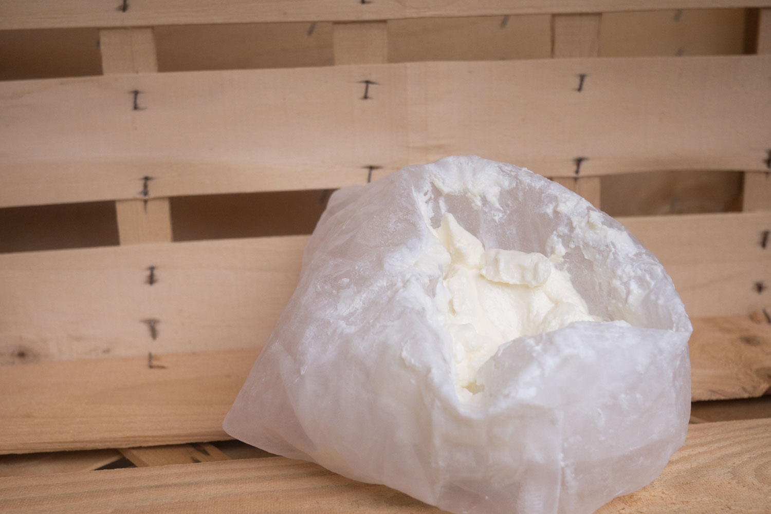 5. After the whey has seeped out, you will be left with a lump of soft cheese.