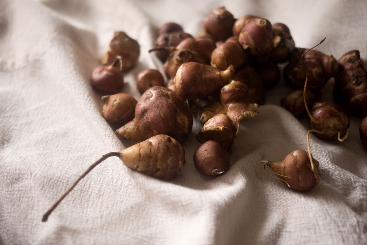 Jerusalem artichokes also known as topinambour.